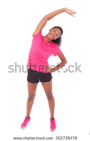 Young african american jogger woman  stretching, isolated on white background - stock photo