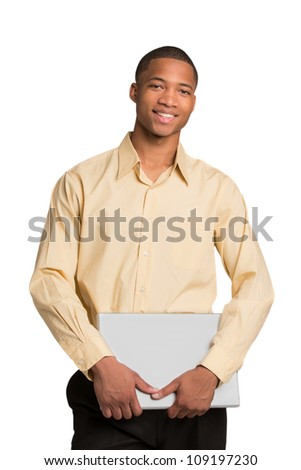 Young African American Male Holding Laptop Isolated on White Background - stock photo