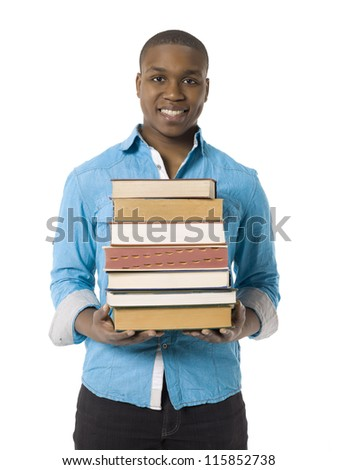 Young african american man holding books - stock photo
