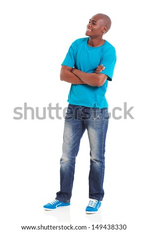 young african american man with arms folded looking away - stock photo