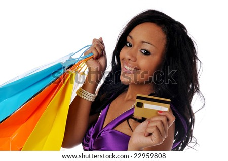 Young African American shopper isolated against a white background - stock photo