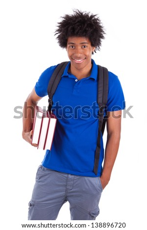 Young african american student holding books, isolated on white background  - African people - stock photo