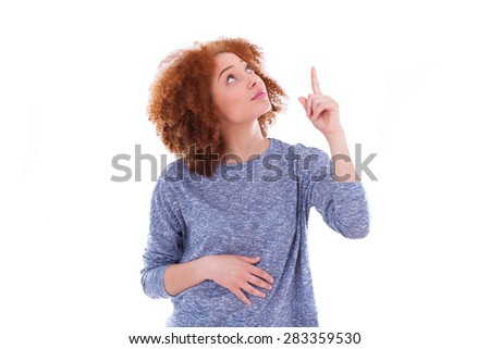 Young african american teenage girl pointing finger up, isolated on white background - black people - stock photo