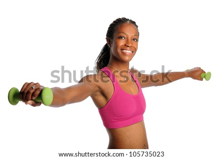 Young African American woman lifting dumbbells isolated over white background