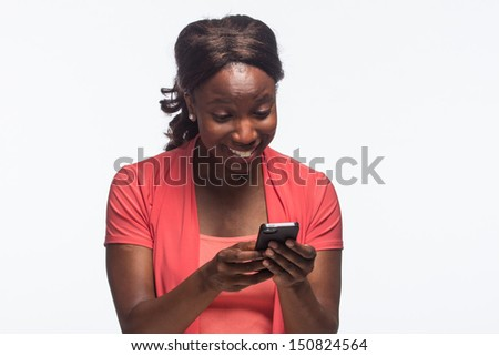 Young African American woman on smartphone, horizontal