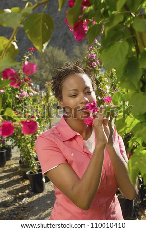 Young African American woman smelling flower at botanical garden - stock photo