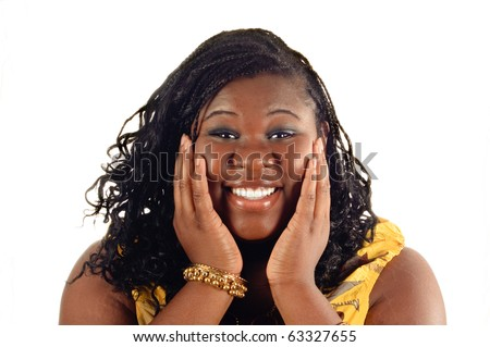 young african american woman smiling because of a pleasant surprise isolated on white background