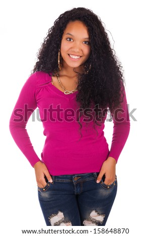 Young african american woman with long hair isolated
