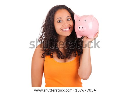 Young african american woman with piggy bank isolated