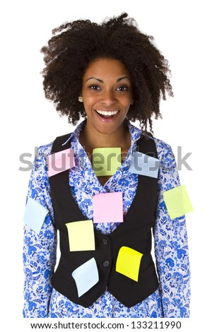 Young african american woman with post its - isolated on white background - stock photo