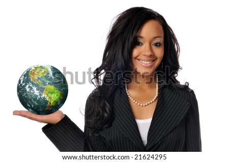 Young african american young woman holding the world