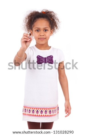 Young african asian girl holding  a paint brush,isolated on white background