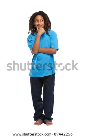 young african boy thinking in studio - stock photo