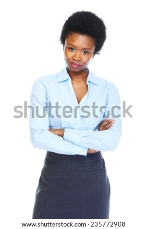 Young african business woman isolated white background