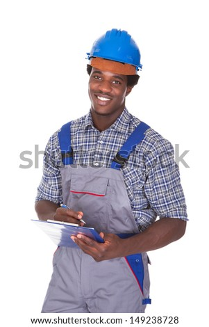 Young African Craftsman Holding Contract Form Isolated Over White Background - stock photo