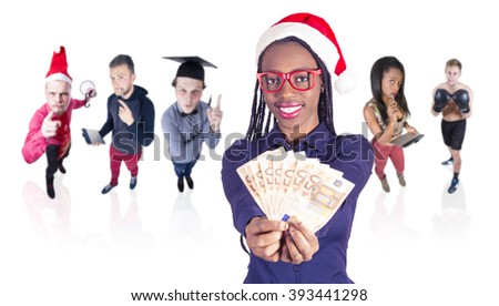 Young African girl with Christmas hat and a money