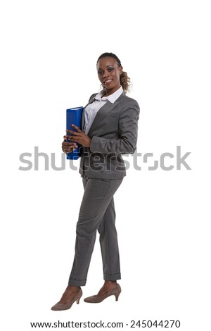 Young african happy business woman holding documents, isolated on white. Full length portrait