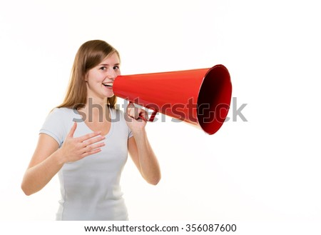 Young African male yelling into a megaphone.