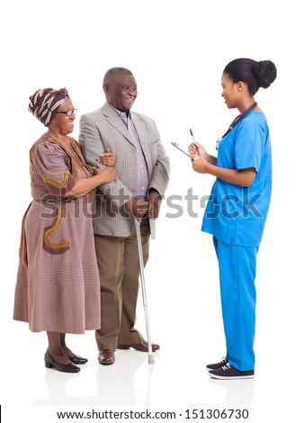young african medical nurse and elderly couple patient isolated on white background - stock photo