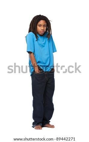 young african rasta boy in studio - stock photo