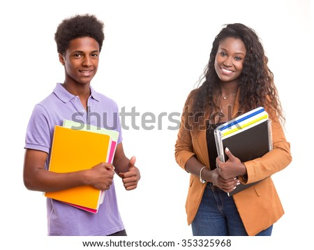Young african students posing isolated over a white background