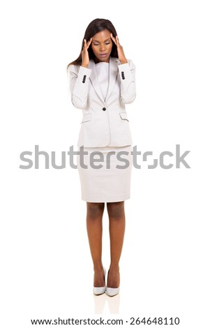 young african woman having headache standing isolated on white background - stock photo