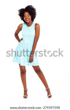 young african woman in blue dress isolated on white background - stock photo