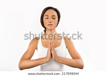 Young African woman in the meditation position - stock photo