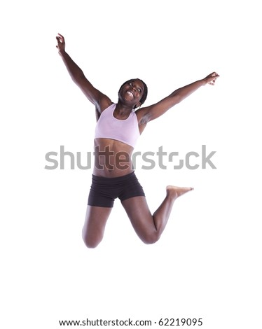 young african woman jumping with barefoot isolated on white (motion blur on some movement) - stock photo