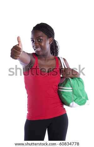 young african woman satisfied with her sport results (isolated on white) - stock photo