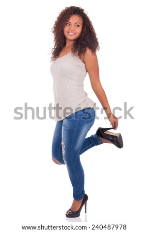 Young African woman smiling - isolated - stock photo