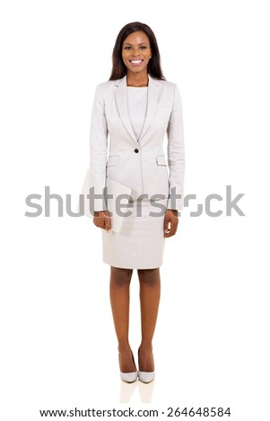 young afro american businesswoman holding laptop computer isolated on white background - stock photo