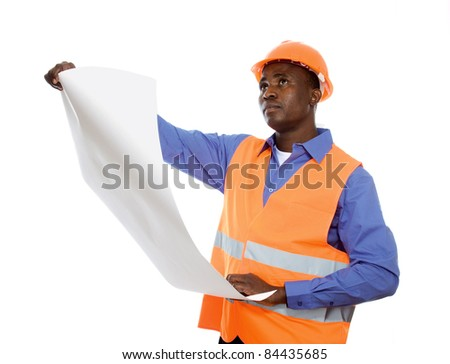 Young Afro-American engineer  with blueprints isolated on white - stock photo