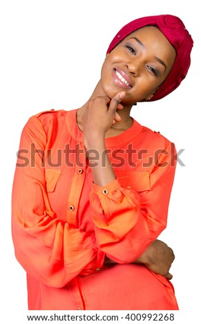Young Afro beauty wearing a red headscarf - stock photo