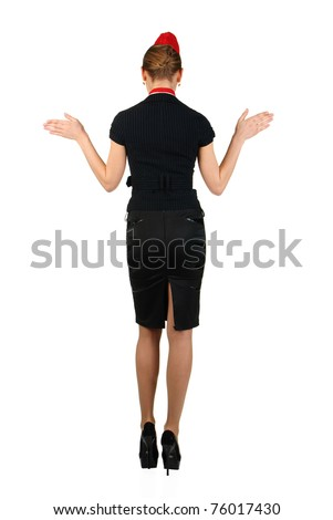 young air-hostess turned back - stock photo