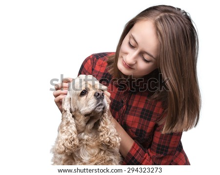 Young american cocker spaniel and beautiful woman isolated on white background with copy-space
