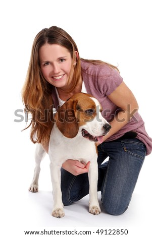 young and beautidul woman with pet