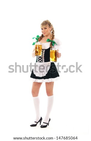 Young and beautiful bavarian girl isolated over white background - stock photo