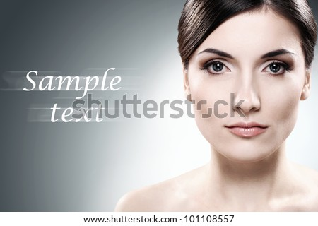 Young and beautiful brunette with clean face