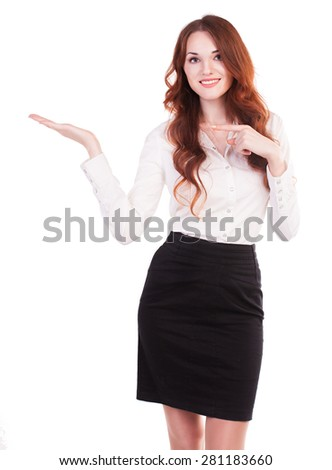 Young and beautiful business woman presenting a copyspace. Isolated on white background. - stock photo