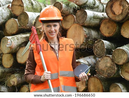 Young and beautiful forestry engineer at work - stock photo