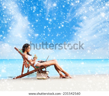 Young and beautiful girl on a beach in exotic country. Seasonal winter vacations concept. . - stock photo