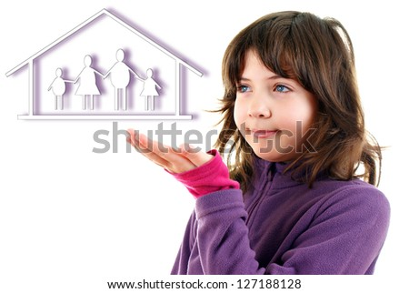 young and beautiful girl points at the house - stock photo