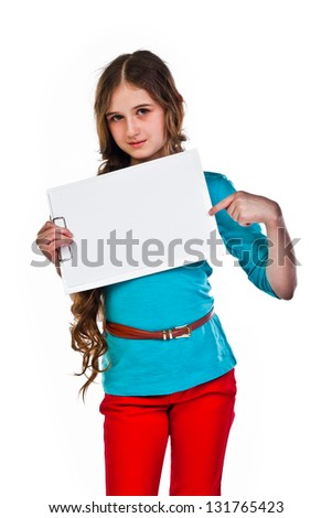 young and beautiful girl with a blank sheet of white