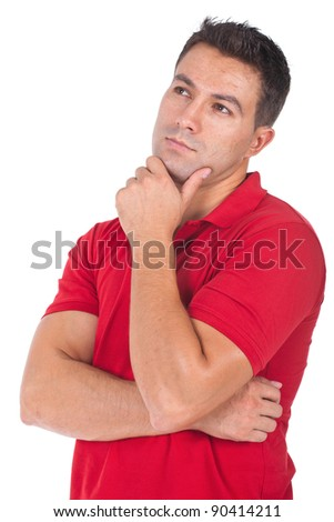 young and beautiful man thinking with hand on his chin - stock photo