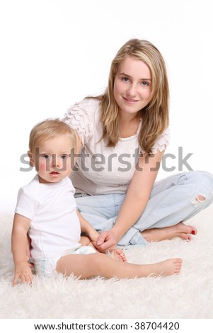 young and beautiful mother with kid