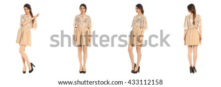 Young and beautiful student in beige skirt isolated over white