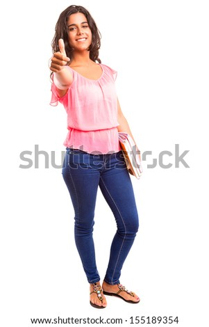 Young and beautiful student posing isolated over white - stock photo