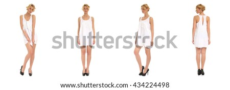 Young and beautiful woman in white dress isolated over white