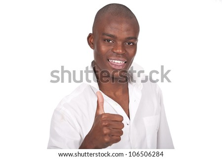 young and black man doing ok sign with thumb up - stock photo